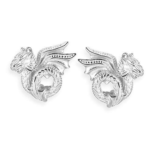 Drachenfels Ohrclip Stecker in Echtsilber   Kollektion Drachenblut   Ohrstecker Set aus 925 Sterlingsilber   Ausgefallene Drachen Ohrringe für Damen