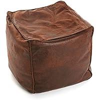 Versa - Puff cuadrado marrón envejecido