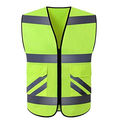 XXW Reflektierende Weste Radfahren reflektierende Weste Fluoreszierende Kleidung Weste kollektiv Aktivität Jacke Mode Motorrad Outdoor schutzweste Sicherheitsweste (Color : Fluorescent Color)