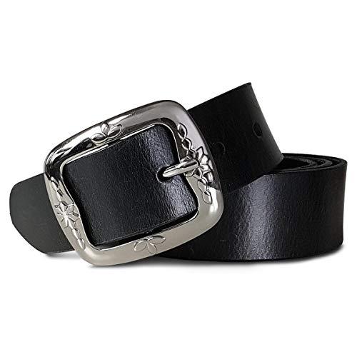 Royalz vintage cintura in pelle donna in pelle di bufalo 38mm larga per jeans accorciabile cinta in vero cuoio, dimensione:80, colore:nero - fibbia disegno floreale liscio