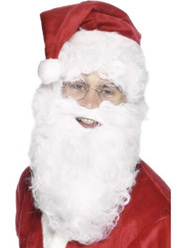 costumebakery - Kostüm Accessoires Zubehör Weihnachtsmann Nikolaus Set mit langem Bart und Perücke, Christmas Santa Claus Kit Beard and Wig, perfekt für Weihnachten Karneval und Fasching, - Santa Kostüm Kit