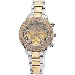 Sheli Women's Small Roman Romans 2 Tone Gold Diamonds Chronograph Decoration Wrist Watch with Day Date, 37mm