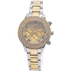 Sheli Women's Small Roman Romans 2 Tone Gold Diamonds Chronograph Decoration Wrist Watch with Day Date, 37mm