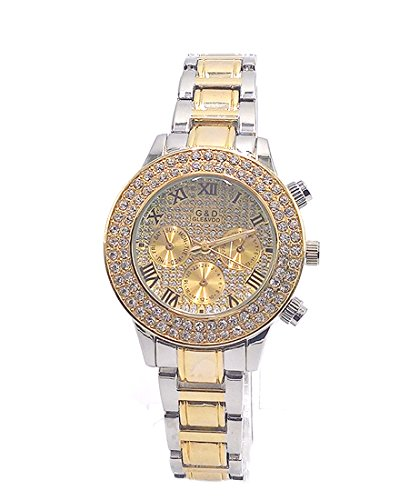 Roman da donna Sheli Romani 2 Tone Oro Diamanti Decorazione Cronografo Orologio da polso con data, 37 mm - 20 Diamanti Womens Watch