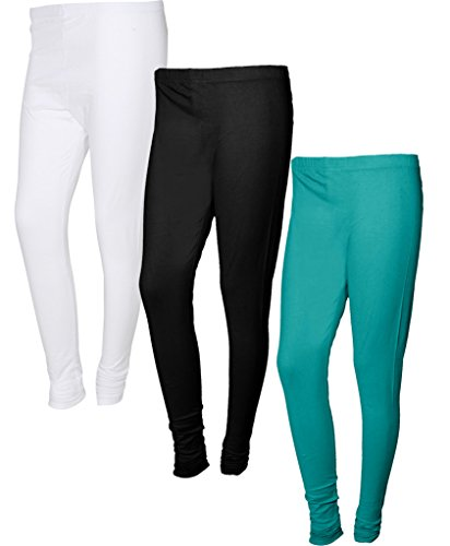 Indiweaves Womens Premium Cotton Leggings (Pack of 3)-Turquoise::White::Black-FreeSize
