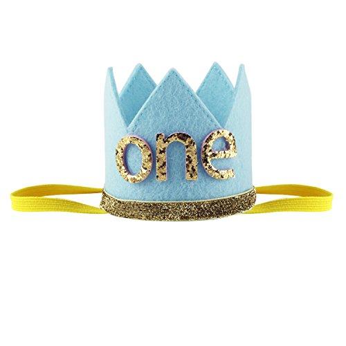 Tiaobug 1. Geburtstag Party Kronen mit Zahlen Baby Junge Mädchen 1 jahr Party Kopfschmuck Hut Prinzessin Prinz Kronen Dekoration Zubehör Accessoires für Fotoshooting Blau mit One One Size