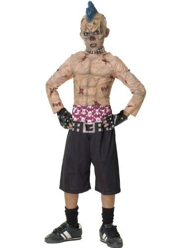 Kostüm Skate Punk (Zombie Skate-Punk Kostüm. Medium 5-7 Jahre. 3/4 Maske, gespickt Halsband, Hemd, Hose und besetzte)