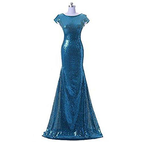 Damen Pailletten Meerjungfrau lange Hochzeit Kleid Ballkleid brautjungfer Cocktail Party kleid Abendkleid Teal