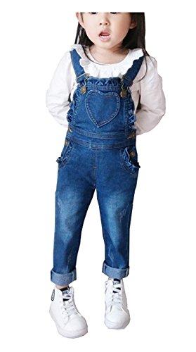 CYSTYLE Kinder Mädchen Denim Overall Jeans Hose mit Rüschen Kinder Baumwolle Latzhose (120/Körpergröße 104-110cm) -