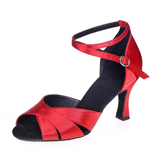 L@YC I Sandali Di Cuoio Moderno Dei Sandali Di Cuoio Dei Pattini Di Ballo Latino Femminili Delle Donne Fungono Spesso Con La Personalizzabilità Red