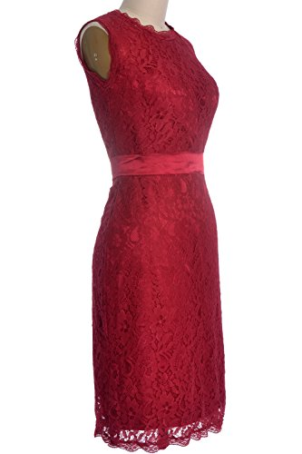 MACloth Women High Neck Short Lace Bridesmaid Dress Cocktail Formal Party Gown Burgunderrot
