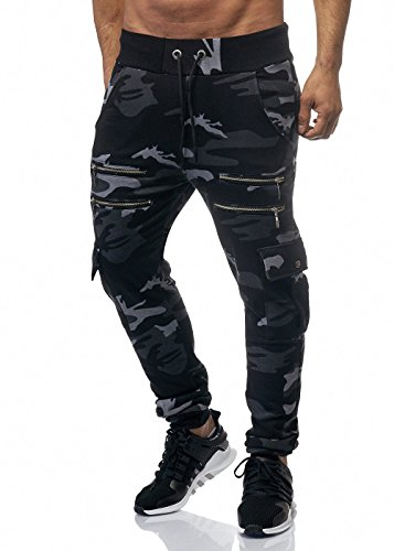Herren Camouflage Zip Sporthose Jogginghose Pocket Schwarz Camouflage S (Hose Zip-pocket)