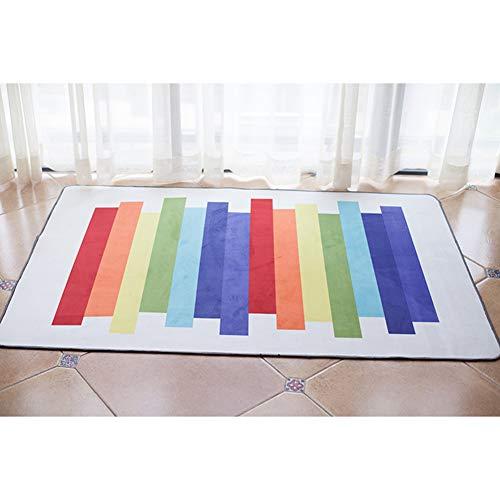 SXFYWYL Kinder rutschfeste Spielmatte Baby Krabbeldecke Bunte Streifen Design Teppich 100 * 150 cm (Kinder Streifen-teppich)