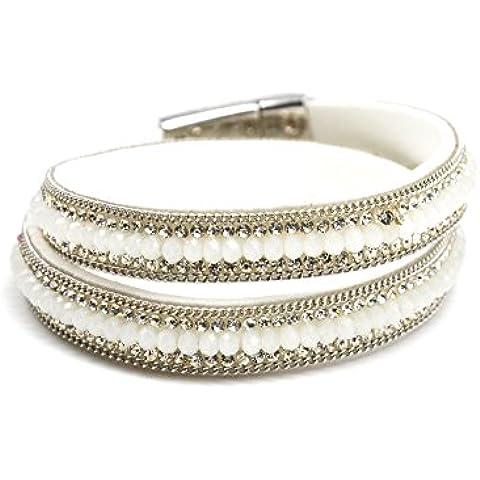 BC1588F-Cinturino a doppio giro in feltro, brillanti, con Strass e perle, canali, modalità fantasia, colore: bianco