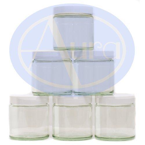 6er-PACKUNG - 120ml KLARGLAS-Behälter mit WEISSER Verschlusskappe für Aromatherapie-Mischungen / Cremes -