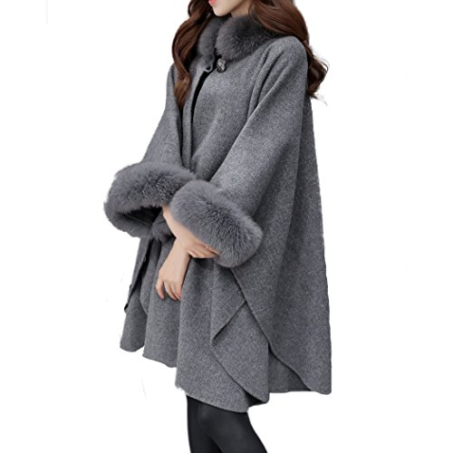 HANMAX Damen Winter Kunstpelz Kragen Strickjacke Mantel Langer Warm Poncho Cape Deckmantel mit Fell