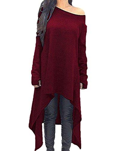 ZANZEA Damen Unregelmäßige Strick Oversize Langarm Pullikleid Longshirt Top Minikleid Rot EU 46/Etikettgröße 2XL