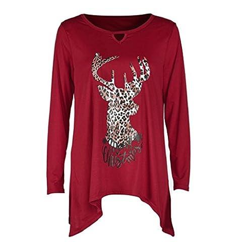 OverDose Women Merry Christmas Leopard Deer Long Sleeve Tops T-Shirt