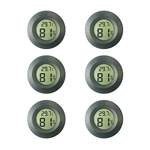 Thlevel Mini LCD Termometri Igrometri Digitali Tester di Temperatura e Umidita' Interna (6 PCS - B)