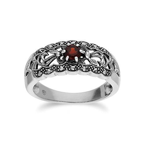 Gemondo Granat Ring, Sterling Silber Granat & Markasit einfache Jugendstil Ring - Garnet