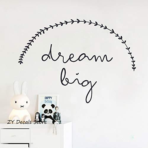 Preisvergleich Produktbild WWYJN Dream Big Text Wall Sticker for Kids Rooms Lovely Vinyl Wall Decals Bedroom Home Decoration Waterproof Art Decal Wallpaper Black 78 X 56 cm
