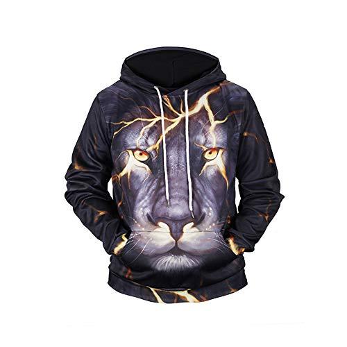 Yaxuan Herrenmode Plus Größe Aktive Langärmellose Hoodie & Sweatshirt-3D/Tier, Bedruckte Hooded,1,XXL