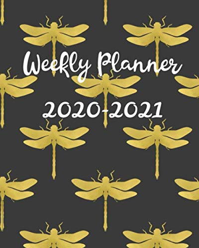 Weekly Planner 2020-2021: 2 Year Calendar, Weekly and Daily Planner for Two Years - Black & Gold Dragonfly Pattern -