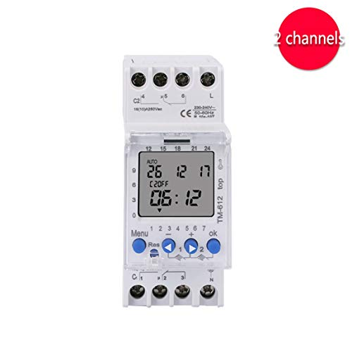 SINOTIMER 220V TM612 Zwei-Kanal-Timer 7 Tage 24 Stunden programmierbare elektronische LCD-Digital-Zeitschaltuhr mit zwei Relaisausgängen (Farbe: Weiß) -