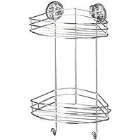 Wenko 20885100 Vacuum-Loc Eckregal 2 Etagen, Befestigen ohne bohren, Stahl, 23 x 43 x 21 cm, Chrom