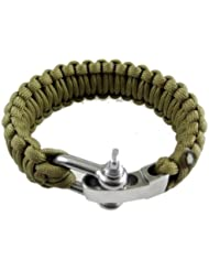 SODIAL(R) Ajustable Paracaidistas del cable Paracord supervivencia pulsera de la pulsera w / hebilla de acero
