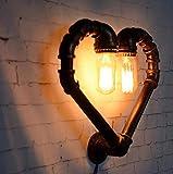 Lámpara de pared de la pipa de agua de hierro forjado, forma del corazón del amor, lámpara de pared del pasillo, cafetería bar restaurante Vintage lámpara decorativa, lámpara de protección ocular E27