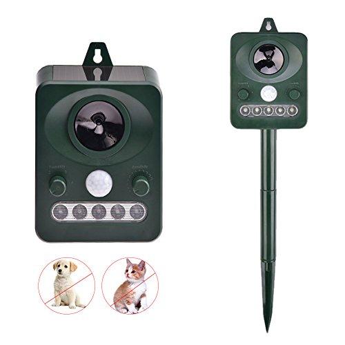 Yunt Animal Pest Repellent Waterproof Solar Powered Electronic Ultrasonic Animal Repeller Dog Cat Scarer Deterrent to Protect Home Yard Garden