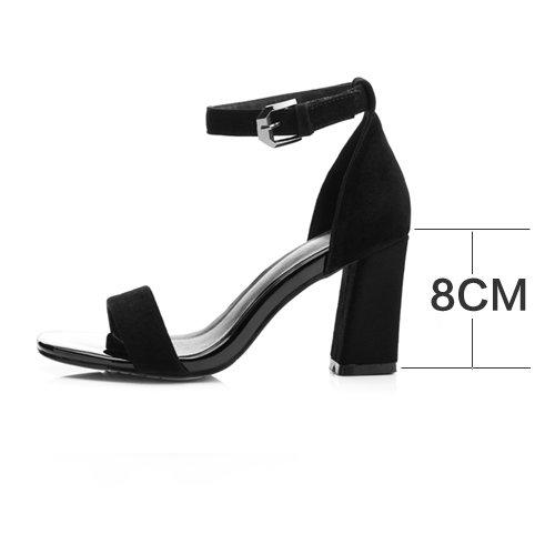 sommer vereiste lederschuhe mit ein paar schuhe, schuhe, sandalen, frauen den kopf und die schuhe,40,schwarz (Schwarz Schaffell-plattform)