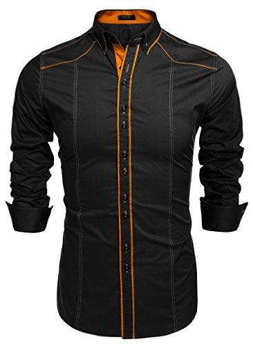 COOFANDY Camisa Negra Hombre Casual Manga Larga de Vestir de Algodón Slim Fit