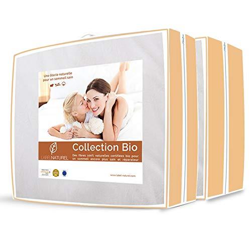 Label Naturel Couette 100% Laine Bio 4 Saisons - Toute Saison - Chaude - été + mi-Saison - légère + tempérée - Hiver - Douillette 150 + 300 g/m²