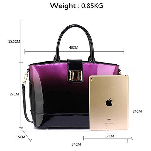 LeahWard Patent zwei Tone Taschen für Frauen Nizza Damen Tote Umhängetasche Handtasche 00329 (Marron/Burgund Zweifarbige Handtasche) Lila Zweifarbige Handtasche