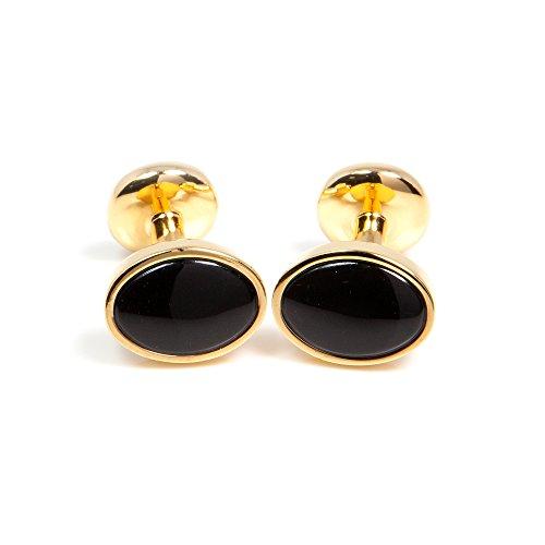 KNÖPFBAR 1 Paar klassisch, Business Herren Manschettenknöpfe / Cufflinks, Oval mit Onyx auf vergoldetem Manschettenknopf - zu jedem Anlass