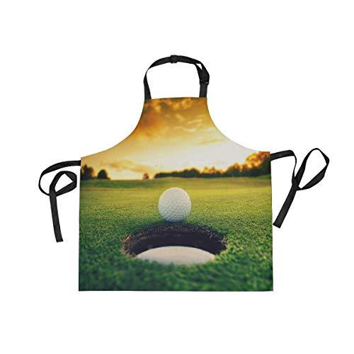 XiangHeFu Latzschürze mit 2 Taschen, Sunset Golf Ball Game Sport 68,6 x 73,7 cm, Verstellbarer Nackengurt für Männer und Frauen, Kochen, Backen, Koch, Küche (Golf-masters-patch)