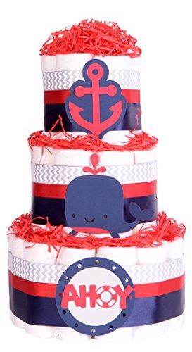 Windeltorte, nautisch, Meer-Motiv, für Babyparty, Marineblau, Blau, Rot, Chevron-Grau, Geschenkkorb