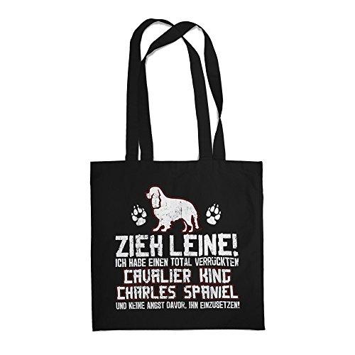 Fashionalarm Stoffbeutel - Zieh Leine - verrückter Cavalier King Charles Spaniel   Beutel Tasche mit lustigem Spruch Rasse Hunde Besitzer Züchter, Farbe:schwarz (King Cavalier Charles Leine)