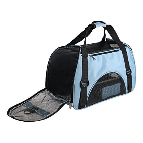 Transportín para animales domésticos, ventilacion bolso de Mascota, bolso a bandolera ergonómico para perros y gatos, Oxford impermeable bolsa plegable para viaje de tren y avión (azul)