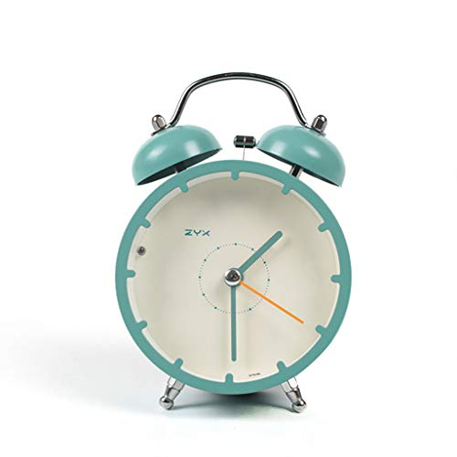 Despertador JXLBB Verde Peacock Azul 4 Pulgadas Alarma Silencio Simple Lado de la Cama Reloj Creativo...