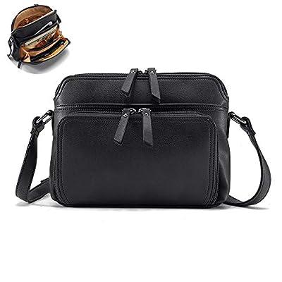 Leather Crossbody Bag, Brenice Women Solid Multi-Pockets Fashion Handbag Casual Shoulder Bag for Dating Traveling School