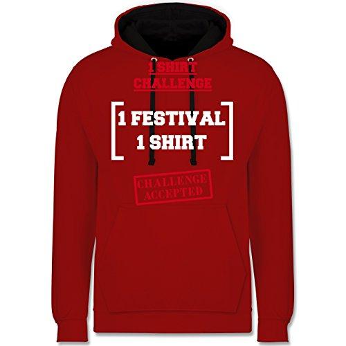 Festival - 1 Shirt Festival Challenge - Kontrast Hoodie Rot/Schwarz