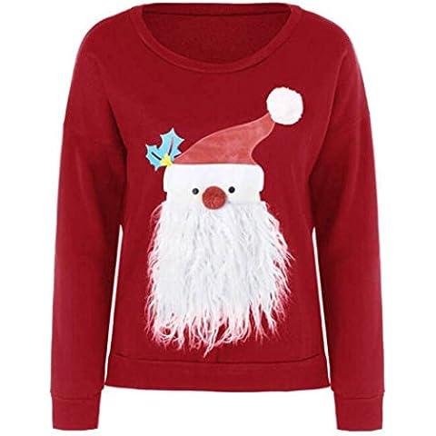 Coversolate Mujeres de impresión de Navidad manga larga Sudadera Camisa Blusa Ropa