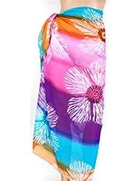 PRESKIN - Couverture Bikini Cover Up Sarong Paréo Wrap Jupe Echarpe Mouchoir pour la plage | couleurs vives | Grand confort