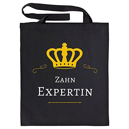Baumwolltasche Zahn Expertin schwarz - Lustig Witzig Sprüche Party Einkaufstasche