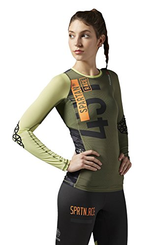 Canopy Top (Reebok Damen Langärmeliges Shirt Spartan Pro Long Sleeve Compression Top, Canopy Green, M, AI1927)