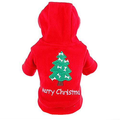 Formidables Haustier-Kleidung Hoodie für kleinen Hund, Weihnachtshemd-Kostüm-Weihnachtsbaum druckte warmes Sweatshirt (Size : S)