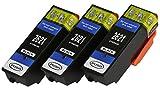 3 XL Druckerpatronen nur Black mit CHIP und Füllstandanzeige für Epson Expression Premium XP-510, XP-520, XP-600, XP-605, XP-610, XP-615, XP-620, XP-625, XP-700, XP-710, XP-720, XP-800, XP-810, XP-820